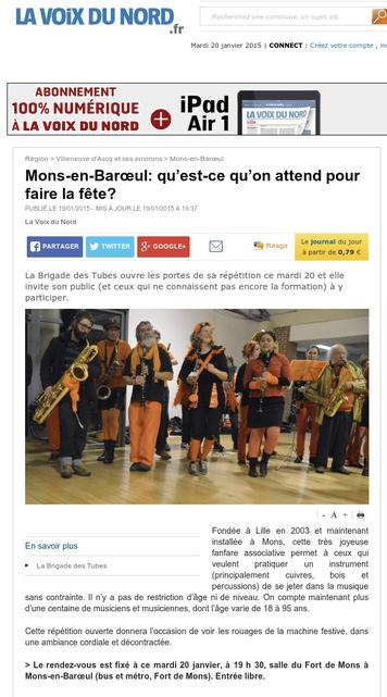 La Voix du Nord - Mardi 20 Janvier 2015