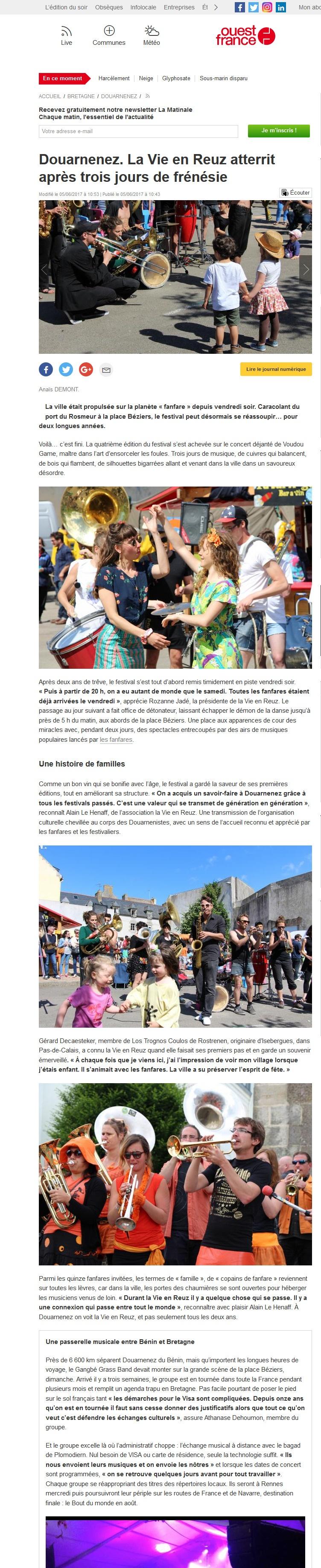 170605 - Ouest France - Douarnenez La Vie en Reuz atterrit après trois jours de frénésie