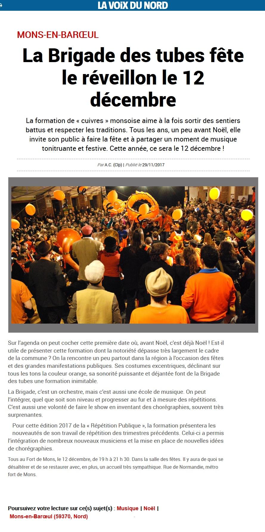 171129 - La Voix du Nord - La Brigade des tubes fête le réveillon le 12 décembre