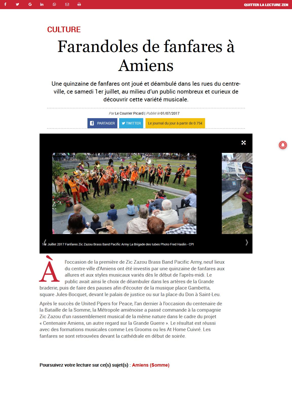 170701 - Le Courrier Picard - Farandoles de fanfares à Amiens